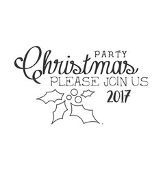 2017 christmas party black and white invitation vector
