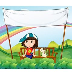 A girl and her dog near an empty banner vector image vector image