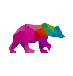 Bear color polygon rainbow in low poly style vector image