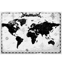 Black ancient World map vector image