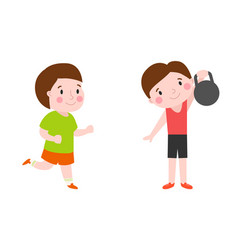 boy with dumbbells fitness attractive kid healthy vector image vector image