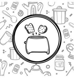 cartoon toaster with toasts on kitchenware vector image