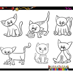 cats set cartoon coloring page vector image vector image