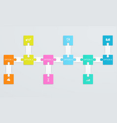 parts of paper puzzles with icons vector image
