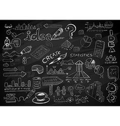 Social media doodles sketch set with infographics vector