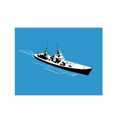 World War Two Battleship Warship Cruiser Retro vector image