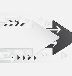 abstract arrows background with paper art style vector image