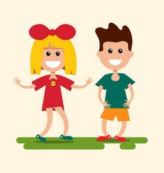boy and girl flat design kids cartoon vector image vector image