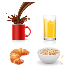 breakfast icons croissant oatmeal coffee juice vector image