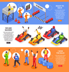 cart racers horizontal banners vector image vector image