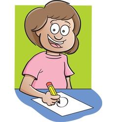 Cartoon Girl at Desk Drawing vector image