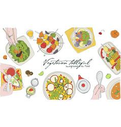 Festive vegetarian tableful laid table holidays vector