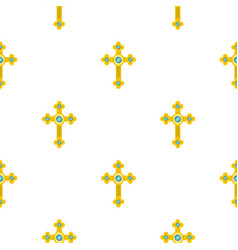 golden cross with diamonds pattern seamless vector image