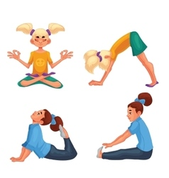 Set with blond and brown haired girls doing yoga vector image vector image