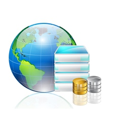 world server and data vector image vector image