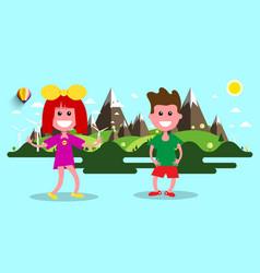 boy and girl nature flat design landscape on vector image vector image