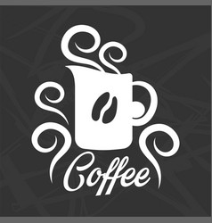 coffee logo design with mug silhouette and grain vector image