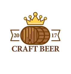craft beer logo with a barrel vector image vector image