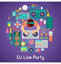 DJ Music Party Icons Set with Musical Instruments vector image vector image