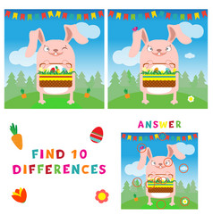 find ten differences of easter bunny with eggs vector image vector image