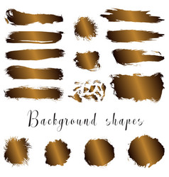 Golden ink borders brush strokes stains banners vector
