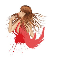 Grunge Girl in Red vector image vector image