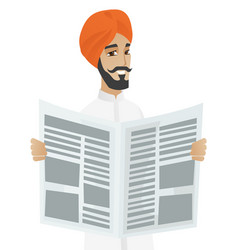 hindu businessman reading newspaper vector image