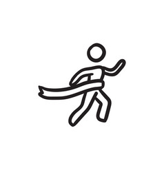 winner crossing finish sketch icon vector image vector image