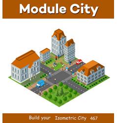 3d isometric city landscape houses gardens vector