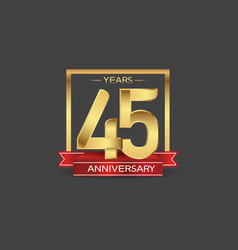 45 years anniversary logo style with golden vector