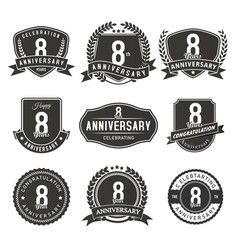 8 year anniversary badge and labels vector image
