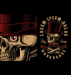a skull in hat with crossed knifes vector image