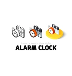 alarm clock icon in different style vector image