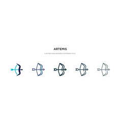 Artemis icon in different style two colored vector