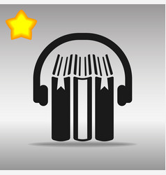 audio book black icon button logo symbol vector image