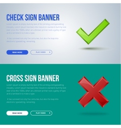 banner of Check mark and cross vector image vector image