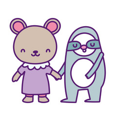 bashower cute little bear and sloth cartoon vector image