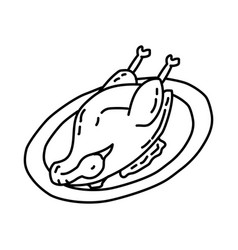 Bebek goreng icon doodle hand drawn or outline vector
