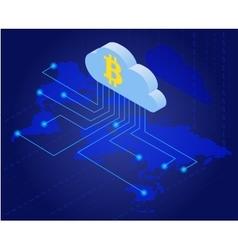 Bitcoin in cloud Bitcoin mining isometric flat vector