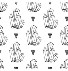 Black and white crystals minerals rocks hand vector