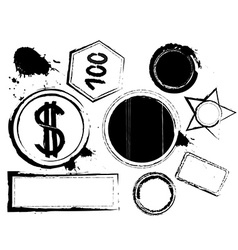 Black Grunge Icon Set vector