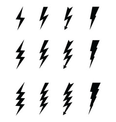 black icons of thunder vector image