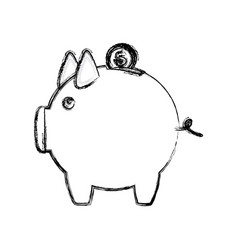 Blurred silhouette money box in shape of pig vector