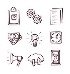 Business icon set isolated on white background vector