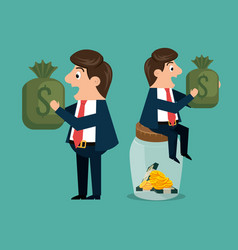 businessmen characters with economy icons vector image