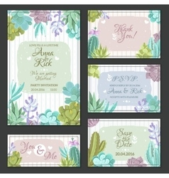 Cactus Wedding Cards Set vector