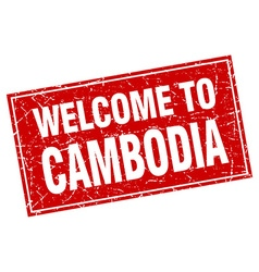 Cambodia red square grunge welcome to stamp vector