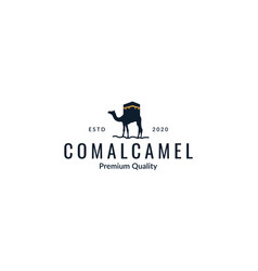 Camel with kaaba silhouette logo design vector