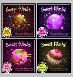 candy planets sweet world design cafeteria menu vector image