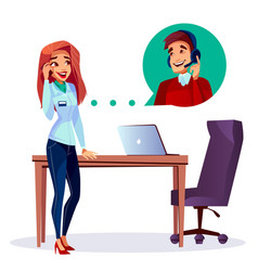 cartoon satisfied customer calling support vector image